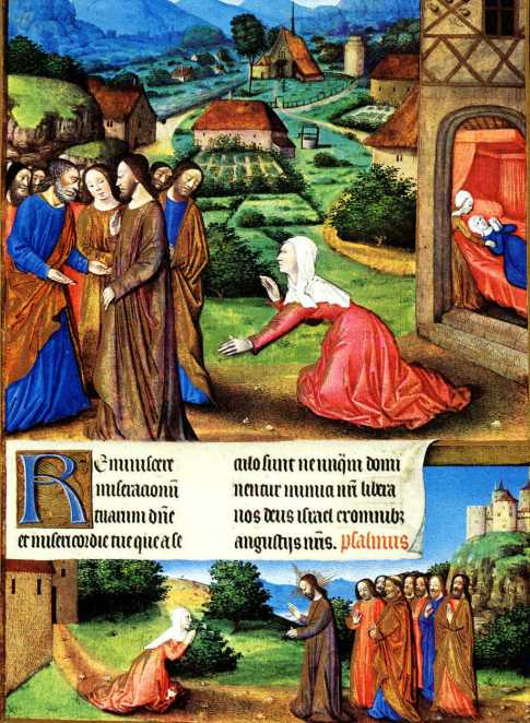 Jesus and the Canaanite Woman, illuminated parchment, folio 164r, Les Tres Heures du Duc du Berry, 1412-1490, Chateau de Chantilly, France