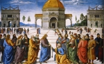Christ Handing the Keys to St Peter, Pietro Perugino, 1481-82, Sistine Chapel, Vatican.