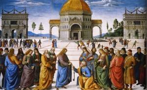 Christ Handing the Keys to St Peter, Pietro Perugino, 1481-82, Sistine Chapel, Vatican.