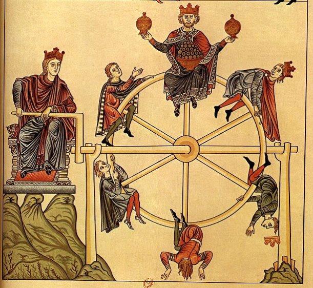 Wheel of Fortune, Hortus Deliciarum, Manuscript, Herrad of  Landsburg (1130-1195), Hohenburg Abbey, Alsace