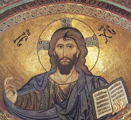 Christ Pantokrator, mosaic, (1145-60), Cathedral of Cefalu, Sicily.