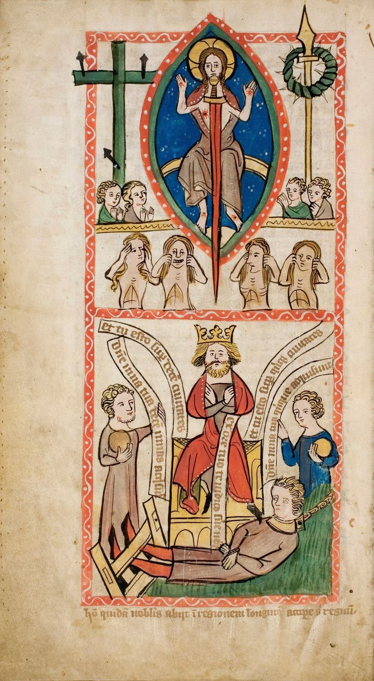 Parable of the Talents, Speculum Humanae Salvationis, c. 1360 Artist Unidentified, Universitäts- und Landesbibliothek Darmstadt Manuscript illumination, Darmstadt, Germany