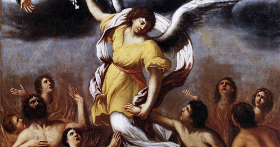 An angel frees the souls from Purgatory (detail), Ludovico Caracci, 1610, oil on canvas, Pinacoteca Vaticana