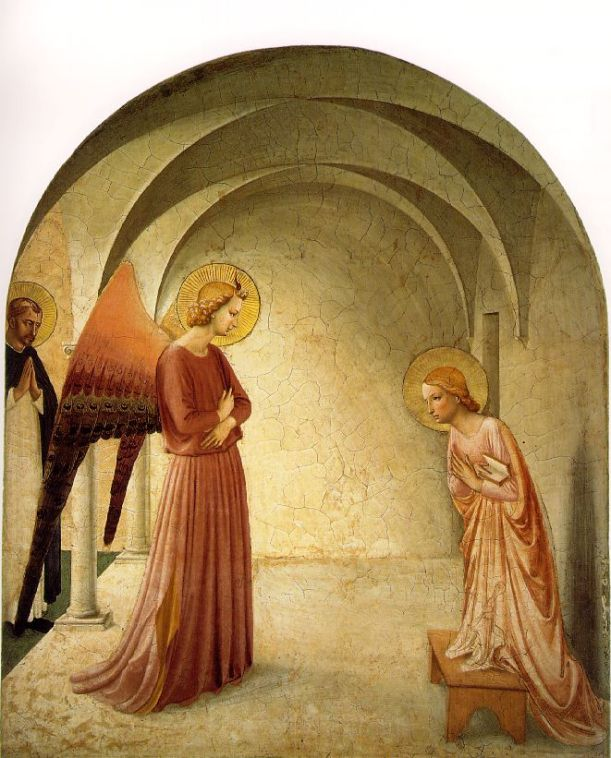 The Annunciation with St Dominic, Fra Angelico (1395 – 1455), Cell No. 3, Fresco Cycle in the Dominican Convent of San Marco, Florence.