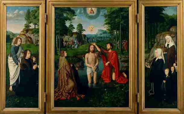 Baptism of Christ, altarpiece, triptych, oil on wood, Gerard David, ca 1507, Groeningemuseum, Bruges, Belgium.