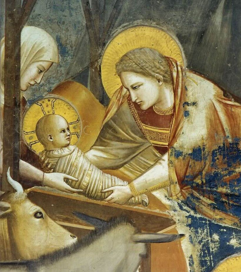 No. 17, Scenes from the Life of Christ - Nativity: Birth of Jesus Giotto di Bondone (1304-1306), Scrovegni Chapel, Padua, Veneto, Italy.