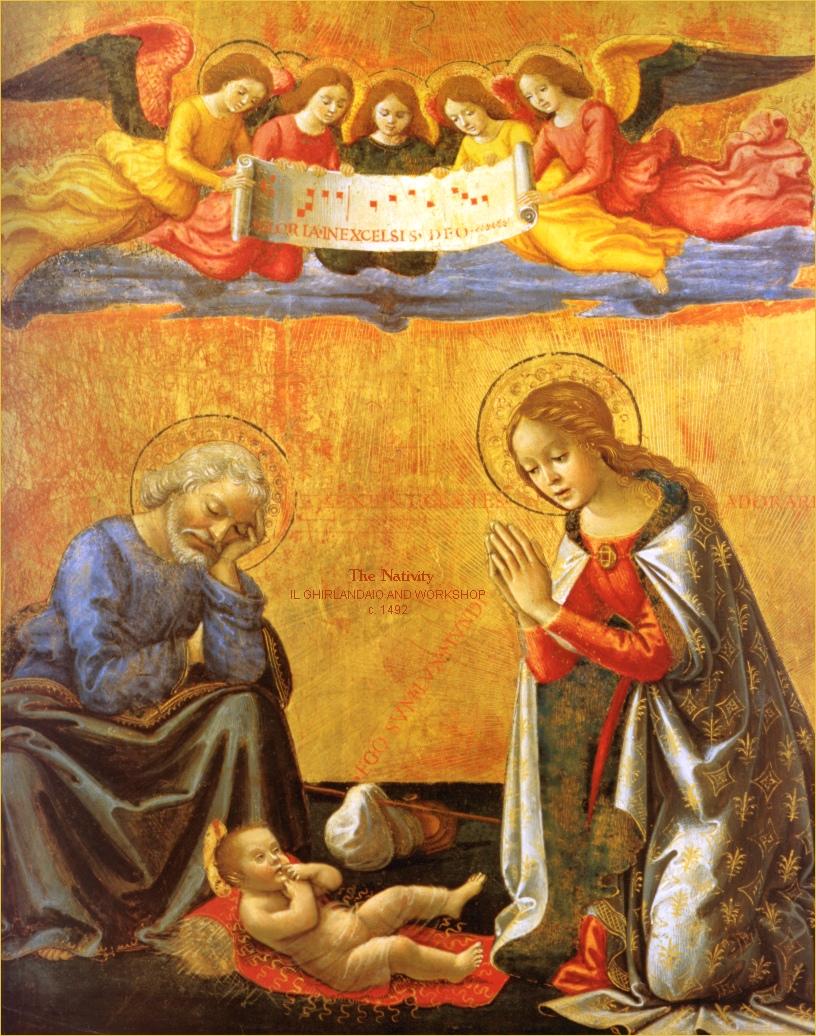 Nativity of Christ, Domenico Ghirlandaio, c. 1492, tempera on panel ...
