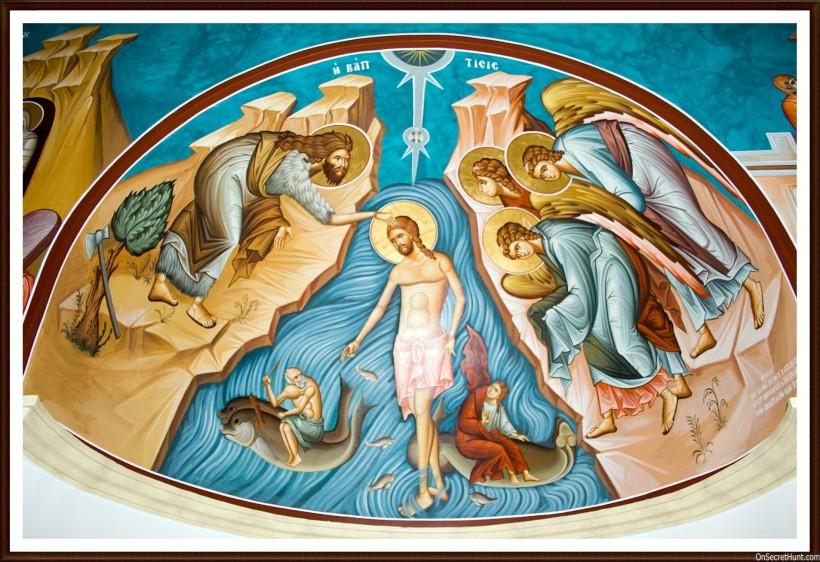 The Baptism of Jesus, fresco, Orthodox Church of St John the Baptist, Bethany-beyond-the-Jordan, Jordan.
