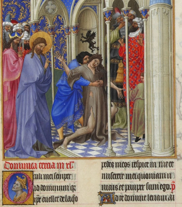 Jesus casts out an Unclean Spirit, illuminated manuscript, folio 166R, Tres Riches Heures du Duc du Berry, Limbourg Brothers, 1412-1416, Musee Condee, Chantilly, France.