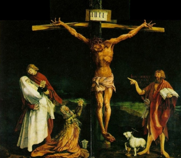 "The Crucifixion, Isenheim Altarpiece, centre panel, Matthias Grünewald, 1512-1516, chapel of the Hospital of Saint Anthony, Isenheim, Germany, c. 1510-15, oil on wood, 9' 9 1/2"" x 10' 9"" Unterlinden Museum, Colmar, France."
