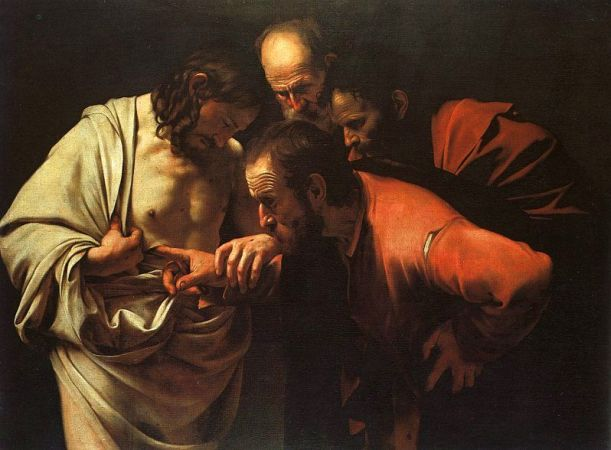 The Incredulity of St Thomas, Caravaggio, (1602), oil on canvas, Sanssouci Palace, Potsdam, Germany.