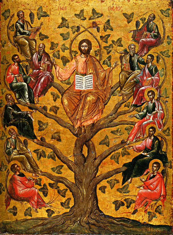 Christ the True Vine, icon, 16th century, Лоза Истинная (Виноградная лоза), Byzantine and Christian Museum, Athens.