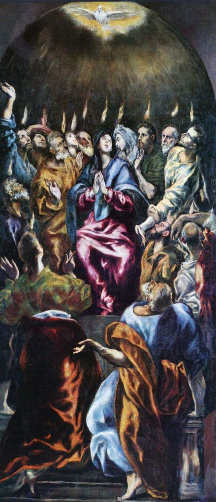 Pentecost, El Greco, c. 1600, Museo Nacional del Prado, Madrid, oil on canvas.
