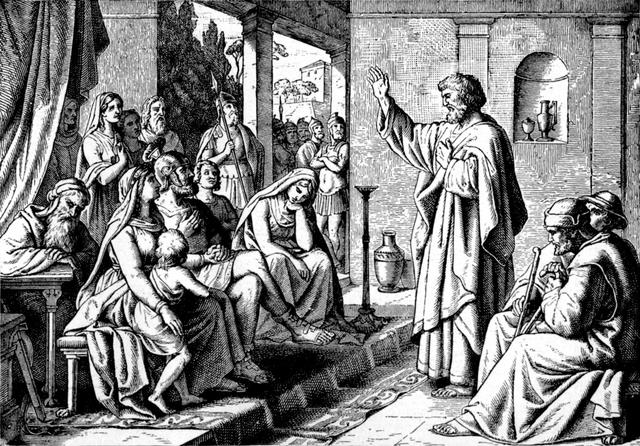 Peter in the house of Cornelius, 19th century, woodcut, artist unknown.