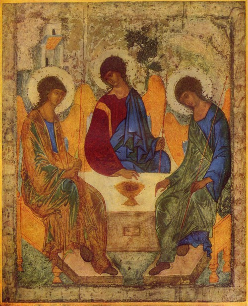 Russian Icon of the Old Testament Trinity, Andrei Rublev, c.1360-1428, Andronikov Monastery, Moscow.