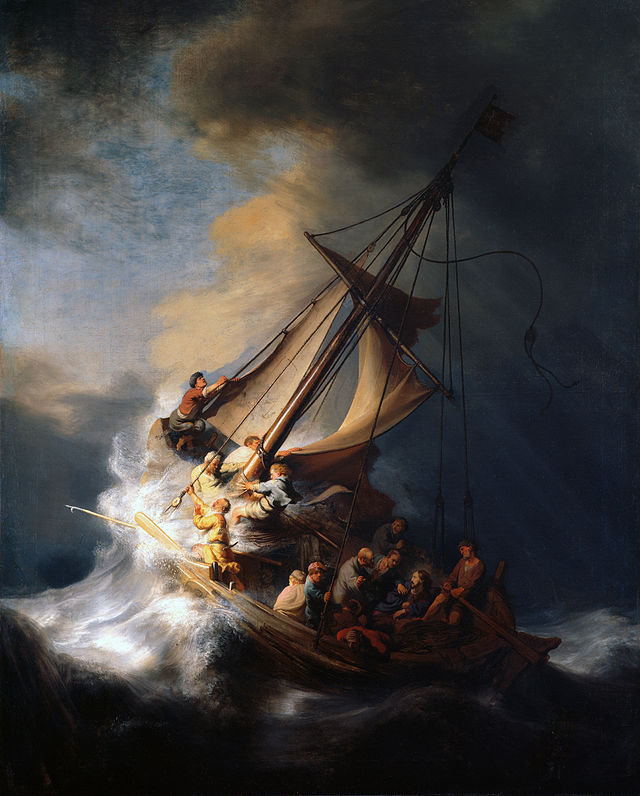 The Storm on the Sea of Galilee, Rembrandt, 1633, Oil on canvas, location unknown, stolen from the Isabella Stuart Gardner Museum, Boston.