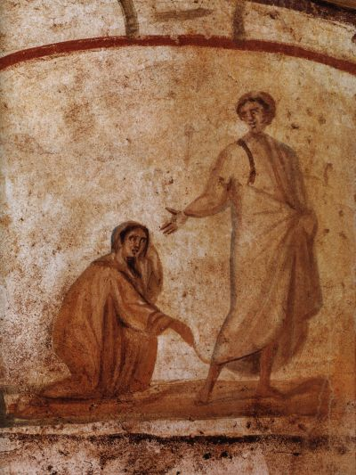 Christ healing the woman with the haemorrhage, 3rd to 4th century, Catacombs of Marcellinus and Peter, Via Casilina, Rome.