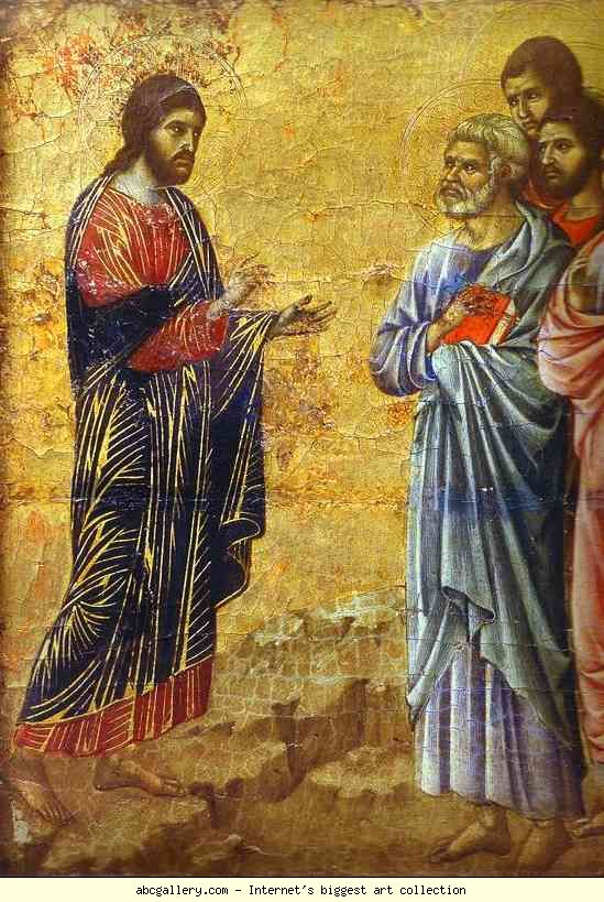 Christ commissions the disciples (detail), reverse surface of the Maesta, Altarpiece in Museo dell'Opera del Duomo, Siena, Duccio di Buoninsegna (ca 1255 - pre-1319), tempera on wood, 1308-1311.