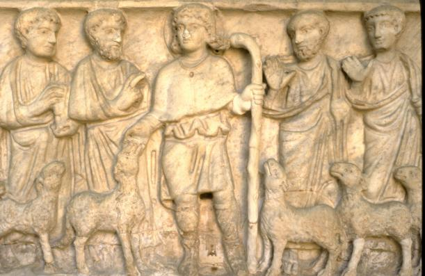 Christ as Good Shepherd with Apostles and lambs, Sarcophagus, 4th century, relief, Museo Pio Cristiano, Vatican.