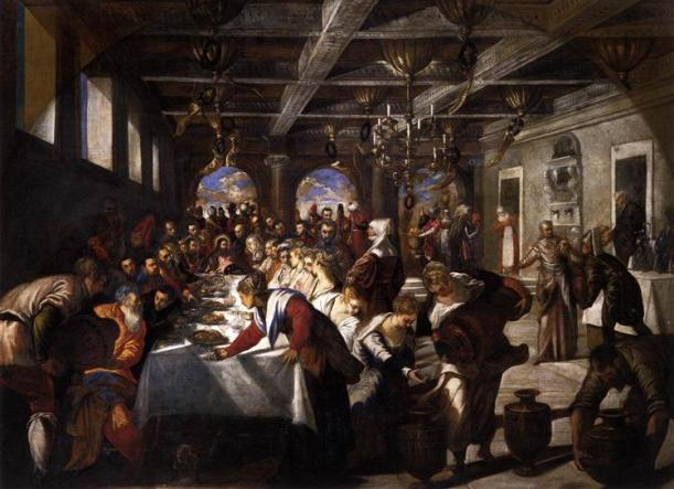 The Wedding Feast at Cana, Jacopo Tintoretto, 1561, oil on canvas, the church of Santa Maria della Salute (The Virgin Mary of Good Health), Venice, Italy.
