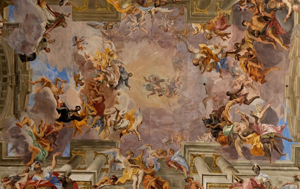 St Ignatius Loyola being welcomed into heaven by Christ, detail of nave ceiling fresco by Andrea Pozzo, c. 1685, Chiesa di Sant'Ignazio di Loyola in Campo Marzio, Rome.