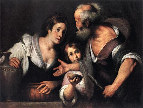 Elijah and the Widow of Zarephath, Bernardo Strozzi, 1630, oil on canvas, Kunsthistorisches Museum, Vienna, Austria