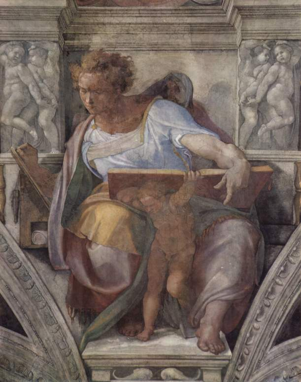 The Prophet Daniel, Michelangelo Buonarotti, c. 1508-1512, fresco, detail from the Sistine Chapel ceiling, Vatican Palace, Vatican City.