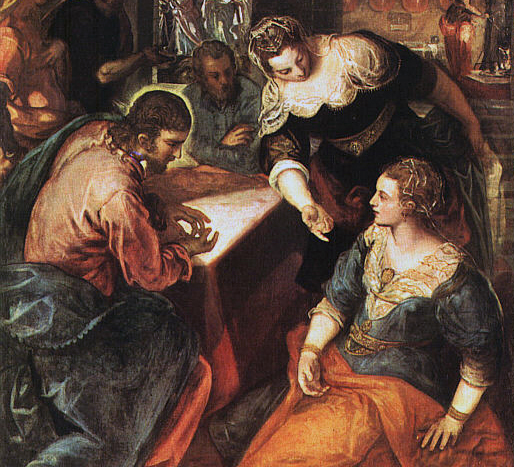Detail Jesus in the home of Mary and Martha Tintoretto